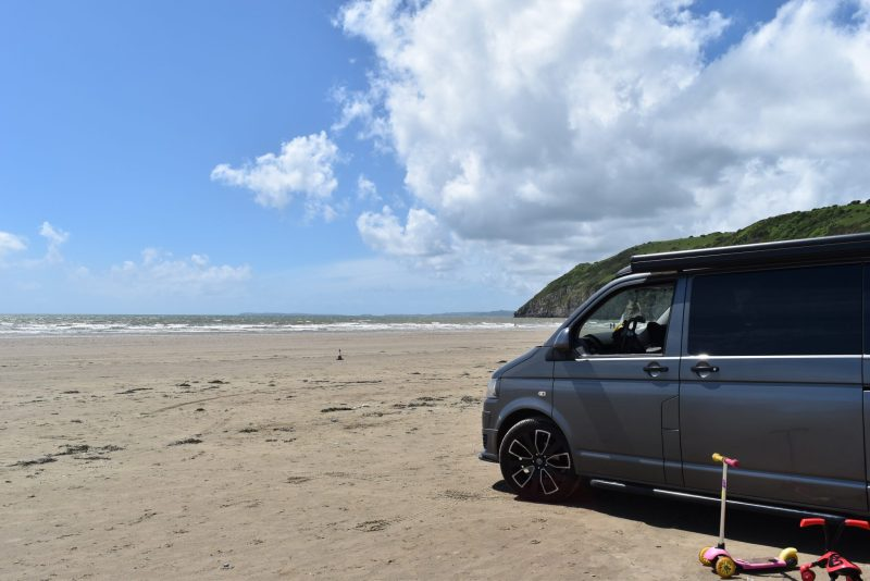things to do in Pembrokeshire - campervan on Pendine sands in Pembrokeshire