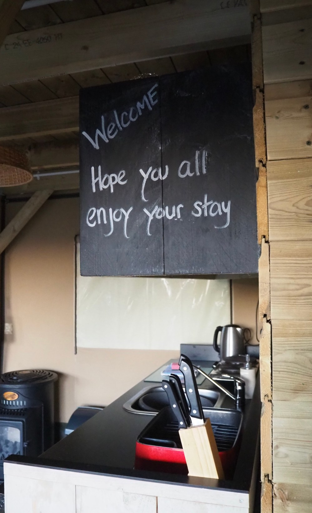 inside safari tent lodge at Ashbourne Heights review of glamping weekend in Peak district