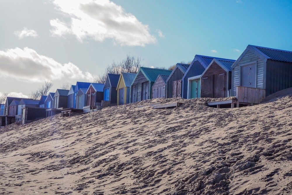 Abersoch beach and beach huts