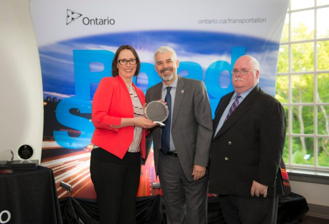 Laura HIllyer accepts road safety award