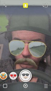 Snapchat Lenses - Sunglasses With Mustache Hat Driving Snapchat Lens