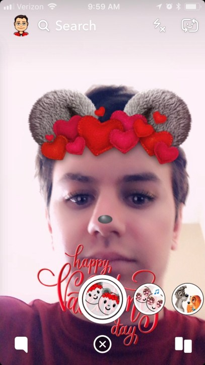 Happy Valentines Day Bear With Hearts Snapchat Filter