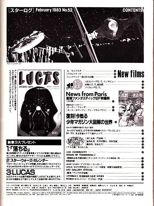 月刊スターログ1983年2月号目次