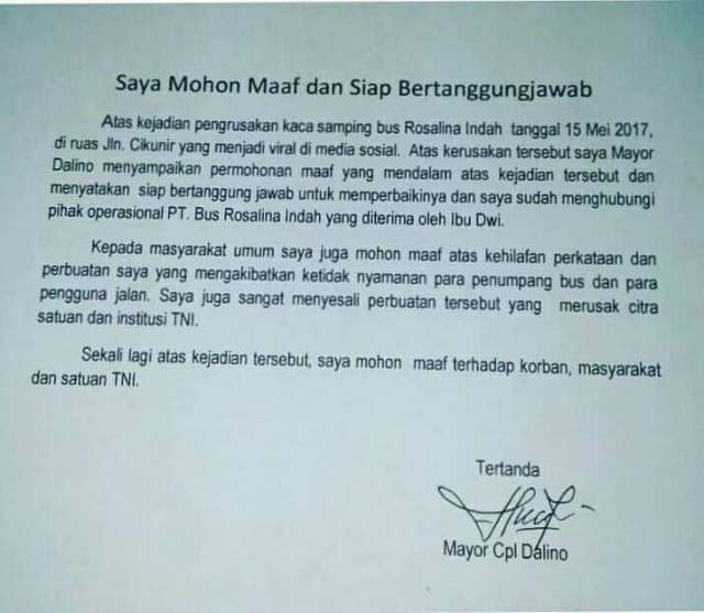 Permintaan maaf TNI Dalino
