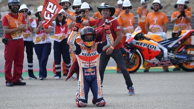 Juara di MotoGP Aragon, Marquez Unggul 4,836 Detik dari Dovizioso