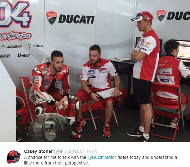 casey stoner ducati test sepang 2016 motogp