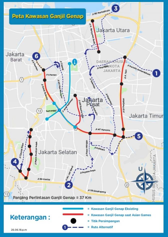 Rute Alternatif Pengalihan Ganjil Genap Jakarta