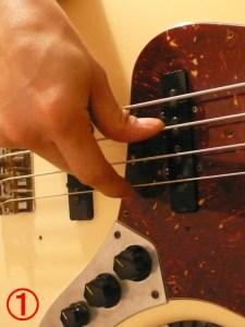 ベース 指弾き 弦移動