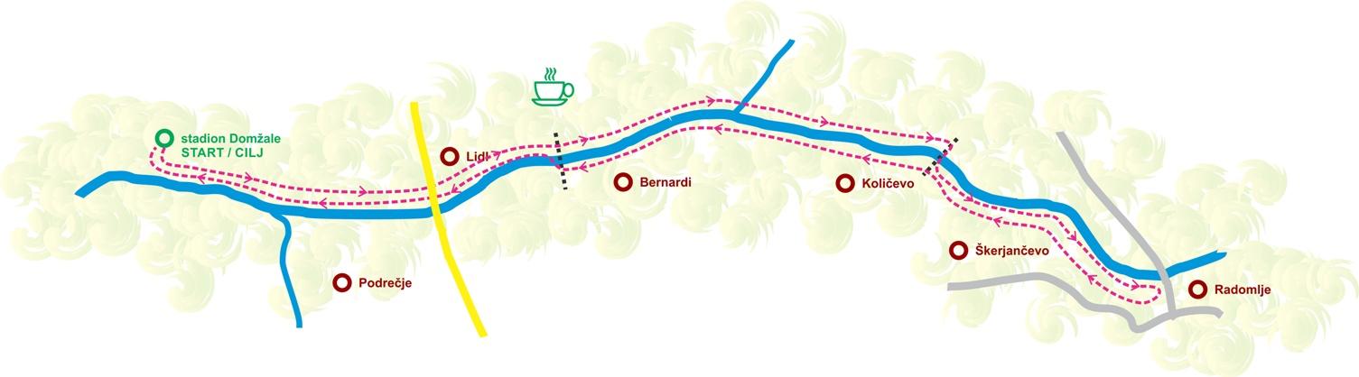 zemljevid trase za tek in pohod na božičkovem teku