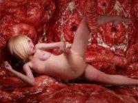 【3D・リアル・エロ・無料】いやらしい怪物の胃の中で?触手におそわれるロリ少女1