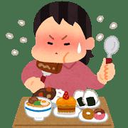ストレスで暴食している女性の画像