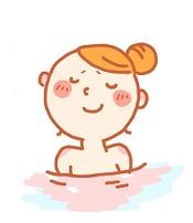 お風呂でキレイにリフレッシュしている女性の画像