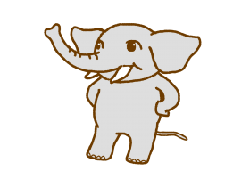 太い二本足で仁王立ちしている象