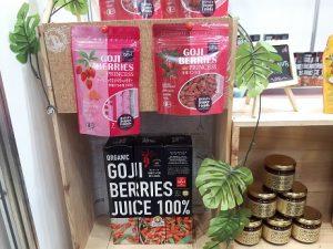 クコの実をメイン原材料に使った美容健康食品が集まっているブースの画像