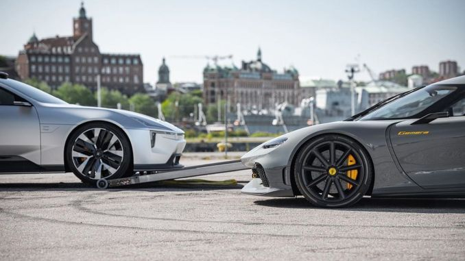 Koenigsegg Gemera and Polestar Precept Concept Models Displayed in the Same Frame