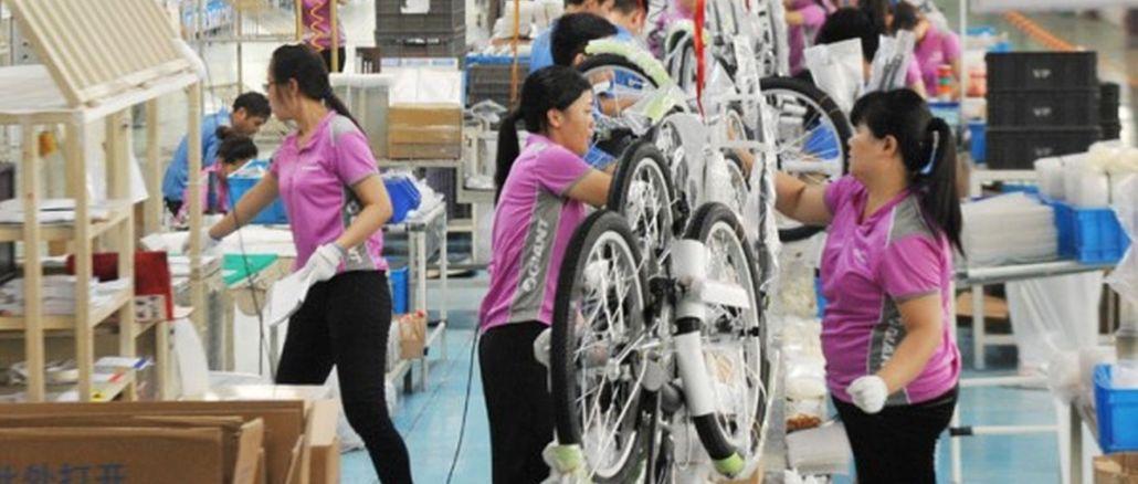 De productie van fietsen is in China met één procent gestegen en bereikte de limiet van miljoen