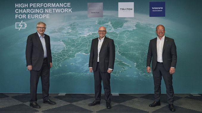 Cooperation from three of the world's leading commercial vehicle manufacturers to establish a charging network in Europe