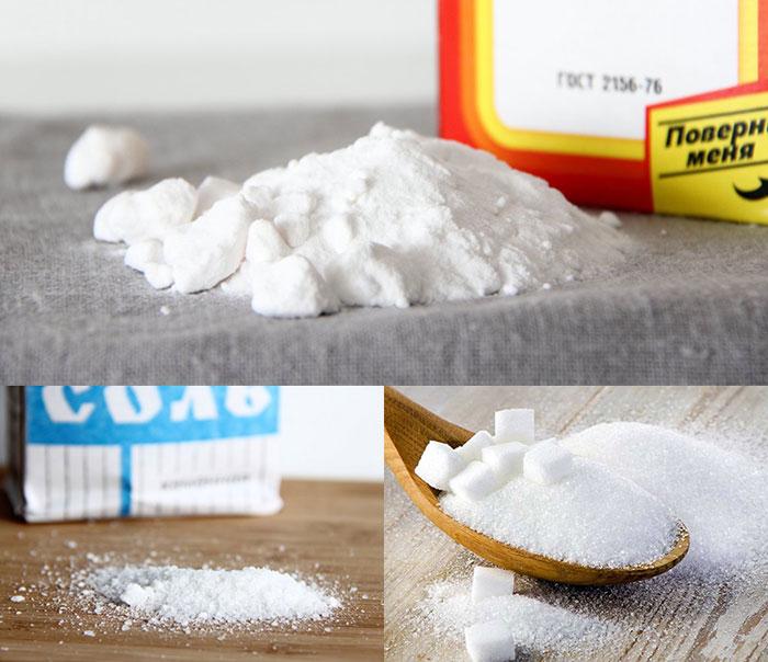 salt, sodavand, sukker