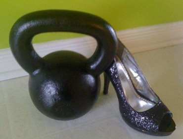 My favorite picture of my wife's shoes and her kettlebell