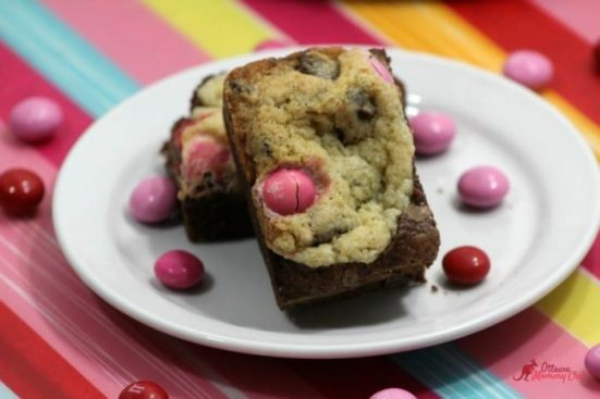Brownie Chocolate Chip Bars Filled with Strawberry M&Ms recipe