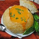 Delicious Tomato Basil Soup In A Bread Bowl Recipe