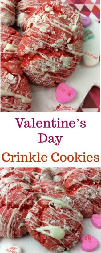 Valentine's Day Crinkle Cookies with a White Chocolate Drizzle