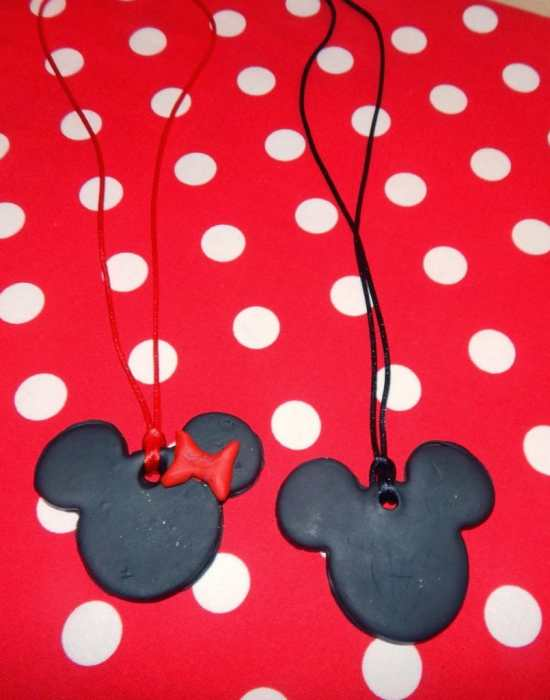 Minnie Mickey Mouse Polymer Clay Pendants by This Ole Mom.