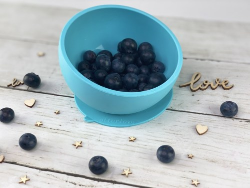 ergonomic silicone baby feeding bowl with suction base - blue - healthy toddler snacks - blueberries