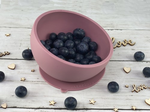 ergonomic silicone baby feeding bowl with suction base - woodchuck - healthy toddler snacks - blueberries
