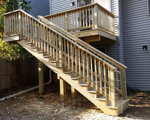 Soanes 2Nd Story Pt Deck Finished Otterbeck Builders   Pressure Treated Wood Stairs   L Shaped   Exterior   Timber   45 Degree Stringer   8 Foot