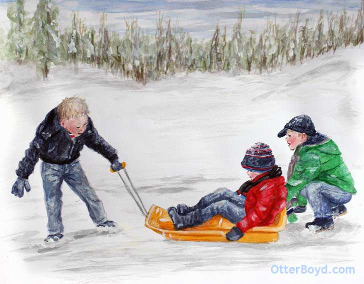 painting of boys pulling a sled in the snow