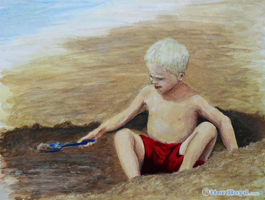 painting of a boy at the beach playing in the sand