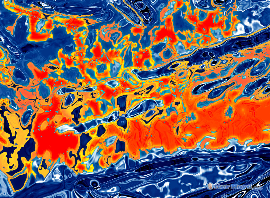 abstract painting elements liquid fire and water