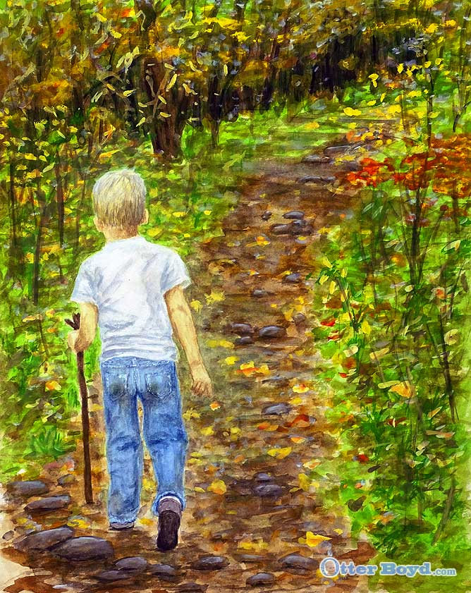 painting of a boy walking in colorful fall forest