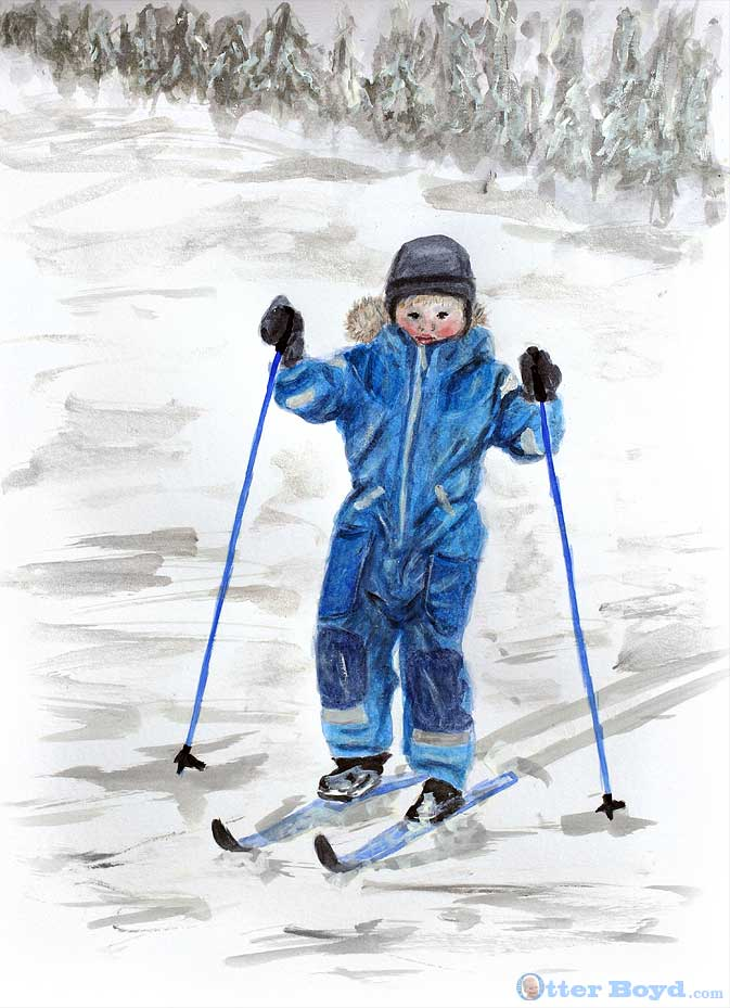 painting of a boy skiing in winter snow