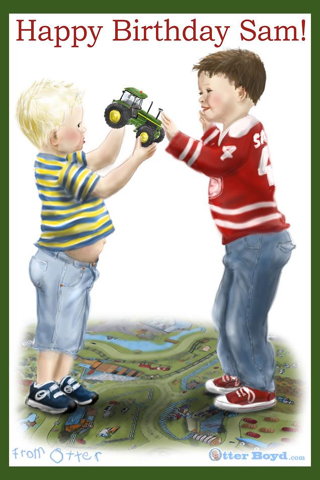 Boys Birthday Card - Otter Shares his John Deere Tractor ...