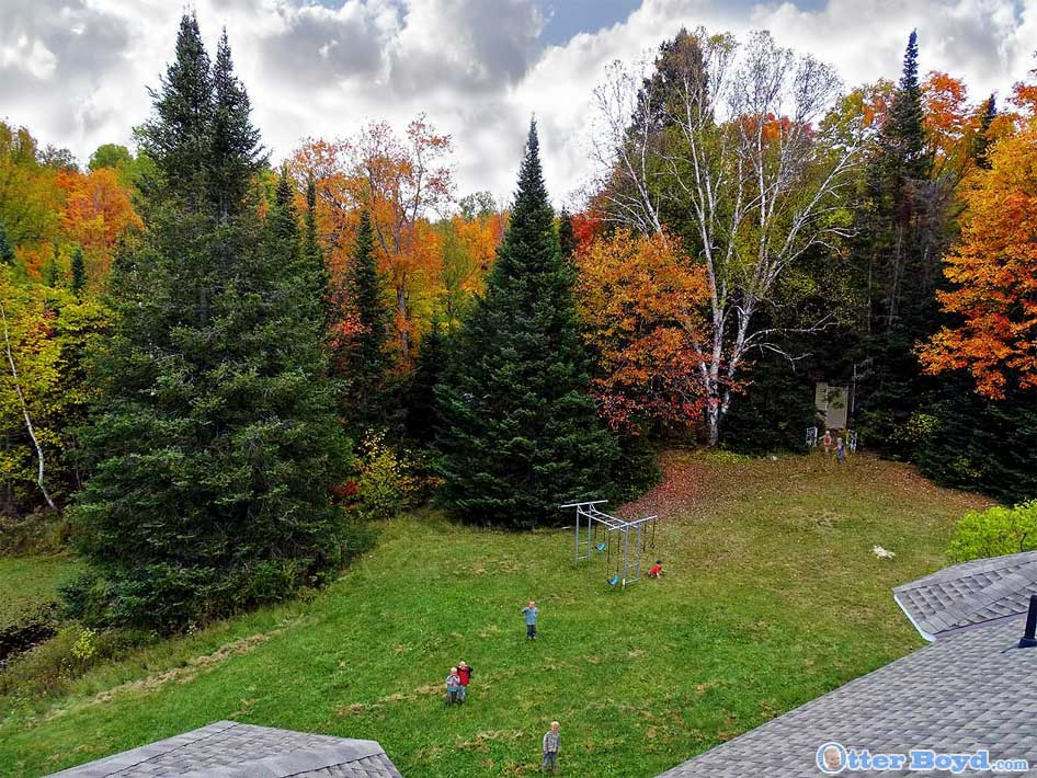 rooftop view of boys playing in autumn forest backyard in Muskoka Ontario
