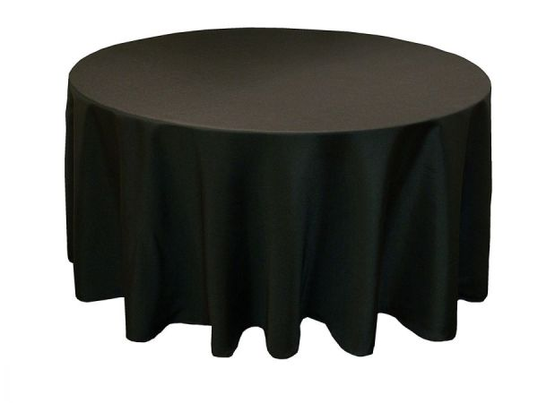 108 Black Round Table cloth for Wedding Banquet