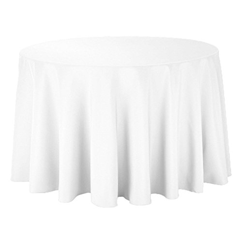 132 Round Premium Tablecloth for Wedding Banquet Restaurant Polyester Fabric Table Cloth White