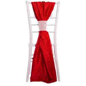 Crushed Taffeta Single Piece Simple Back Chair Accent Red