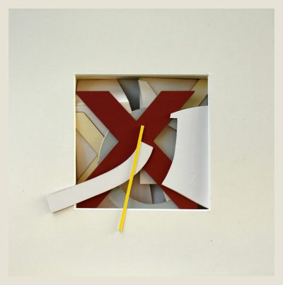 reliquary 15. 23x23x7 cm. printed surfaces, cut card.