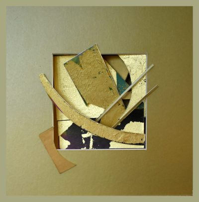 reliquary 2. 23x23x7 cm. gold leaf, painted surfaces cut card