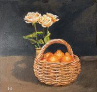 Tangerine basket acrylic on panel 20cm x 20cm