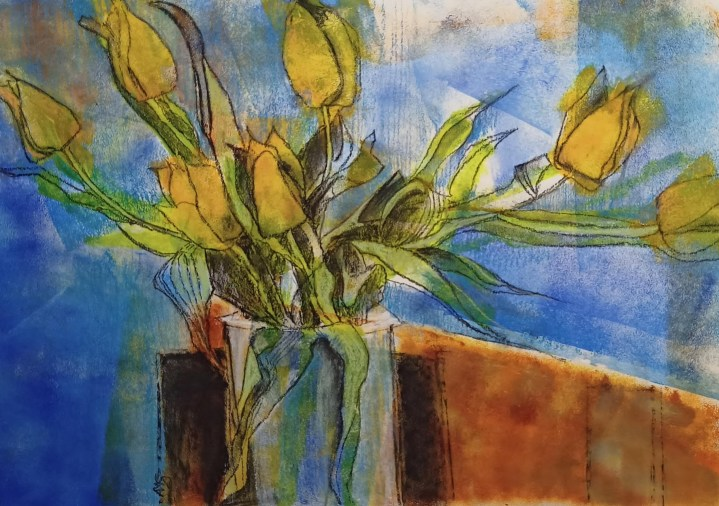Tulips - watercolour and pastel on cartridge paper