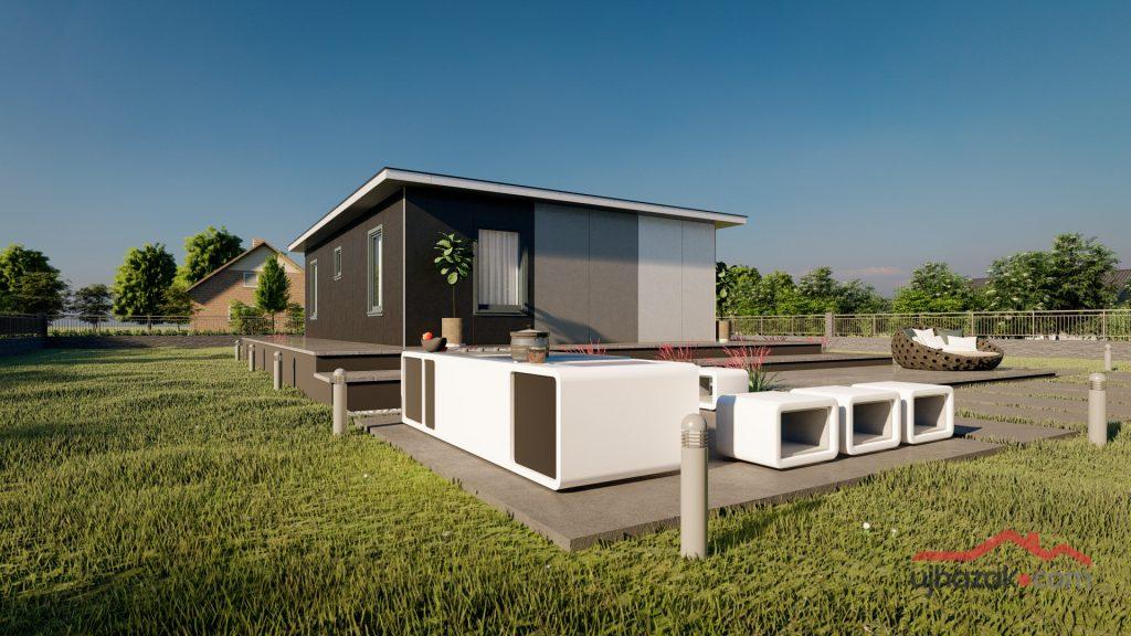 Zadar 75 m²-es PuzzleHome moduláris ház típusterv látványterve szendvicspanel burkolással