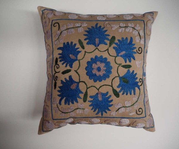 Hand Embroidered Cotton Cushion from Uzbekistan