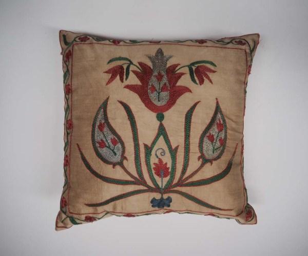 Very fine hand embroidered Silk on silk Uzbeki Cushion