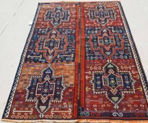 Hand knotted Warp wrapped Soumac Iraqi Kurdsih Herqi. Approximately 150 years old