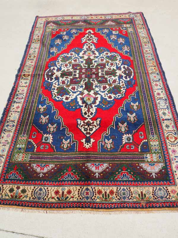 Hand knotted wool on wool Turkish carpet, Central Antolia Taspinar. Approximately 30 - 40 years old
