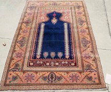 Fine Quality Hand made & double knotted Turkish carpet from Kayseri Niche design Prayer rug with unusually vivid shade of Blue. Approximatley 100 years old